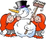 Vector Cartoon illustration of two happy Elf making a big Snowman Royalty Free Stock Photos