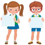 Vector cartoon illustration of two student girl and boy are hold a blank banner Stock Photography