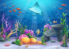 Vector cartoon illustration undersea Royalty Free Stock Image