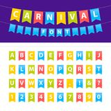 Vector cartoon illustration of Uppercase ABC font set on party flags. Easy for edit. Decoration party, celebration holiday, advert. Vector cartoon illustration Royalty Free Stock Photo