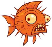 Wacky Cartoon Blowfish. Vector cartoon illustration of a wacky orange pufferfish or blowfish stock illustration