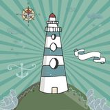 Vector cartoon illustration with waves and mountains. lighthouse on the rocks, sea landscape with blue sky.  vector illustration