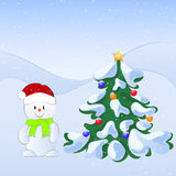 Vector cartoon illustration of a winter scene with a cute snowman and snow covered fir tree. New Year illustration. Christmas illustration Royalty Free Stock Photo