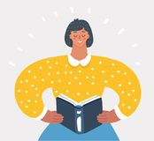 Woman holding Book. royalty free illustration