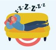 Woman sleep on sofa in room. Dreaming girl. Vector cartoon illustration of woman sleep on sofa in room. Dreaming girl. Snoring, snoring during sleeping. Female Royalty Free Stock Images