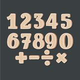 Wooden numbers - vector. Vector cartoon illustration of wooden numbers and sights on black background. Division, exclamation point, multiplication, percent Royalty Free Illustration