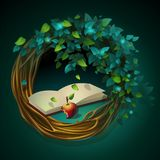 Vector cartoon illustration wreath with book and apple Royalty Free Stock Images