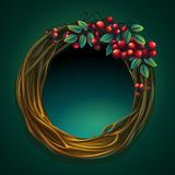 Vector cartoon illustration wreath of vines with ashberry. Vector cartoon illustration wreath of vines and leaves on a green background with ashberry Stock Photos