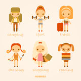 Vector cartoon illustrations of hobbies. Vector set of cartoon illustrations of hobbies Stock Photo
