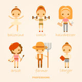 Vector cartoon illustrations of professions. Vector cartoon illustrations of ballerina, coach, hairdresser, artist, farmer and lawyer Royalty Free Stock Photography