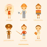 Vector cartoon illustrations of professions. Vector cartoon illustrations of singer, builder, librarian, policeman, teacher and doctor Royalty Free Stock Photography
