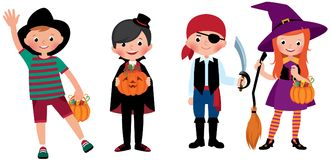 A group of children in Halloween costumes Royalty Free Stock Photo