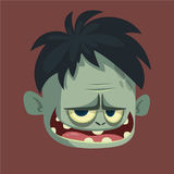 Vector cartoon image of a funny gray zombie with big head frightening someone on a dark background Royalty Free Stock Images