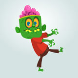 Vector cartoon image of a funny green zombie with big head. Halloween. Vector illustration. Royalty Free Stock Photography