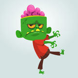 Vector cartoon image of a funny green zombie with big head.  Halloween Vector illustration. Royalty Free Stock Photography