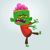 Vector cartoon image of a funny green zombie with big head.  Halloween Vector illustration. Stock Image