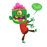 Vector cartoon image of a funny green zombie with big head. Halloween vector illustration Royalty Free Stock Photos