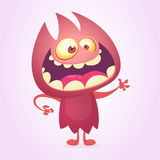 Vector cartoon image of funny red devil monster with standing. And frightening on a white background. Vector cartoon illustration of monster for Halloween Royalty Free Stock Images