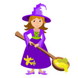 Vector cartoon image of funny witch with red hair purple dress and pointed hat spoon potion on white background. Halloween. illust Royalty Free Stock Photography