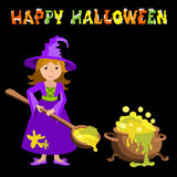Vector cartoon image of funny witch with red hair purple dress and pointed hat, standing next to a big cauldron potion on black ba Stock Photo