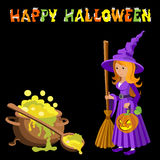 Vector cartoon image of funny witch with red hair purple dress and pointed hat, standing next to a big cauldron potion Stock Photo