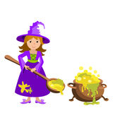Vector cartoon image of funny witch with red hair purple dress and pointed hat, standing next to a big cauldron potion isolated  Royalty Free Stock Images