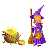 Vector cartoon image of funny witch with red hair purple dress and pointed hat, standing next to a big cauldron potion Royalty Free Stock Photo