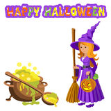 Vector cartoon image of funny witch with red hair purple dress and pointed hat, standing next to a big cauldron potion on white ba Royalty Free Stock Photos