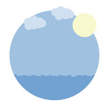 Vector cartoon image round frame with blue sea, sky, sun Royalty Free Stock Photography