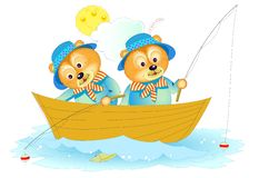 Fantasy illustration of two cute little bears fishing. Cover for children book. Hand-drawn vector cartoon image. stock photography