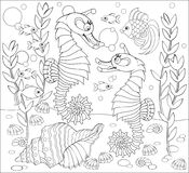 Black and white page for coloring. Fantasy drawing of underwater life with two seahorses. Stock Photography
