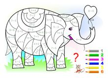 Educational page with exercises for children on addition and subtraction. Need to solve examples and to paint the elephant. royalty free illustration