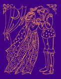 Illustration of prince and princess from ancient fairytale meeting at night. Wedding poster. Vector cartoon image. stock illustration