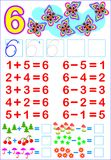 Educational page for children with compositions of number six. Vector cartoon image. Scale to any size without loss of resolution Royalty Free Stock Photo