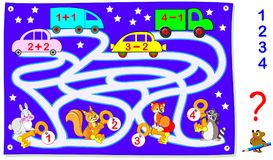 Educational page with exercises for children on addition and subtraction. Help the animals find their cars. Draw the way. Vector cartoon image. Scale to any Royalty Free Stock Images
