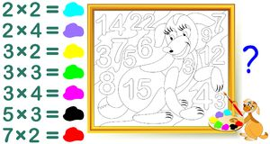 Exercise for children with multiplication. Find the answers and paint the numbers in relevant colors. Vector cartoon image. Scale to any size without loss of Royalty Free Stock Photos