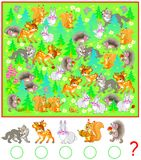Exercise for young children. Need to count the animals in the forest and write the corresponding numbers in circles. Vector cartoon image. Scale to any size Royalty Free Stock Photography