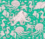 Fantasy seamless ornament on green background. Fantasy drawing of underwater life. Vector cartoon image. Scale to any size without loss of resolution Stock Photo