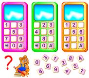 Help the bear to repair mobile phones. Find the missing numbers and write them on the correct places. Vector cartoon image. Scale to any size without loss of Stock Photo