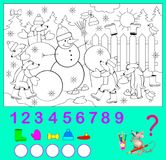 Logic exercise for children. How many objects you can find the in the picture? Color them and write the numbers. Vector cartoon image. Scale to any size without Royalty Free Stock Images
