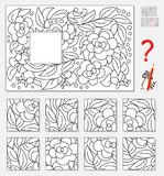 Logic puzzle game for children adults. Find and draw missing piece that corresponds to pattern. Vector cartoon image. Scale to any size without loss of Royalty Free Stock Photos