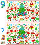 Logic puzzle game for children and adults. Need to find 9 differences. Developing skills for counting. Vector cartoon image. Scale to any size without loss of Stock Photos