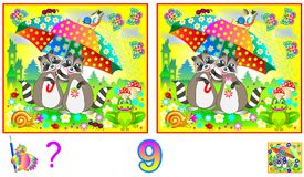 Logic puzzle game for children and adults. Need to find 9 differences. Developing skills for counting. Vector cartoon image. Scale to any size without loss of Stock Image
