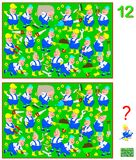 Logic puzzle game for children and adults. Need to find 12 differences. Developing skills for counting. Vector cartoon image. Scale to any size without loss of Stock Images