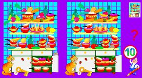 Logic puzzle game for children and adults. Need to find 10 differences. stock illustration