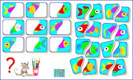Logic puzzle game for children. Need to find the second parts of each fish  Stock Photography