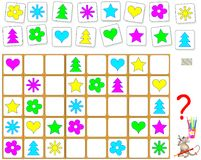 Logic puzzle game. Draw the missing objects in empty places respecting regularity. Royalty Free Stock Photos