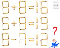 Logic puzzle game. In each task move 1 matchstick to make the equations correct. Vector cartoon image. Scale to any size without loss of resolution Stock Images