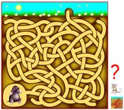 Logic puzzle game with labyrinth for children and adults. Help the mole to find the way out of the hole. Stock Photos
