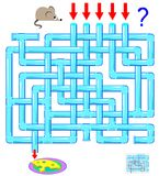 Logic puzzle game with labyrinth for children and adults. Help the mouse find the way till the cheese. Vector cartoon image. Scale to any size without loss of Royalty Free Stock Photos